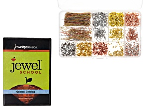 Jewel School General Beading DVD & Assorted Findings Kit Appx 864 Pieces