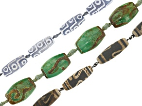 DZI Quench Cracked Agate Barrel Shape Large Hole Bead Strand Set of 3 appx 15-16
