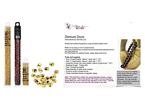 Varidi Cymbal Super Duo Beads in 24K Gold Over Brass and Assorted Seed Beads in 3 Styles & Tutorial