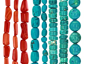 Turquoise Simulant & Red Bamboo Coral Tube Shape Bead Strand Set of 8 appx 15-16