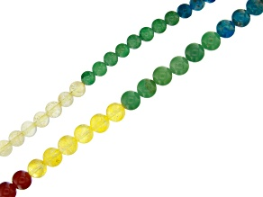 Multi-Stone Banded Chakra Round appx 6mm & 8mm Bead Strand Set of 2 appx 15-16