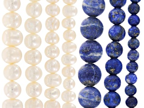 Lapis Lazuli Matte Round Bead Strand & White Cultured Freshwater Pearl Potato Bead Strand Set of 7