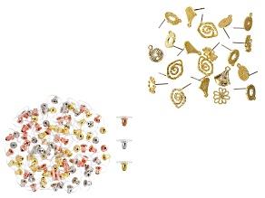 Earring Findings in 5 Styles in Gold Tone & Bullet Clutch Earring Backs Set in 3 Tones 116 Pieces