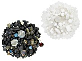 Czech Glass Beads 1lb Bag of Assorted Shapes & Sizes in Black, White Opaques & White Crystal Shades