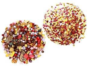 Czech Glass 1lb Bag Of Beads & 1oz Seed Bead Mix in Assorted Shapes in