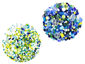 """Czech Glass 1lb Bag Of Beads  in """"Oceanside"""" & 1oz Seed Bead Mix in """"Pool Party"""" in Assorted Shapes"""