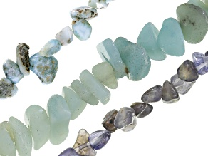 Amazonite, Larimar and Iolite Bead Strand Set of 3 in Assorted Shapes appx 14-16