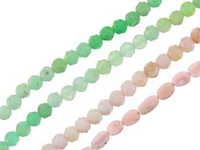 Pink Opal & Chrysoprase Round & Oval Shape Bead Strand Set of 4