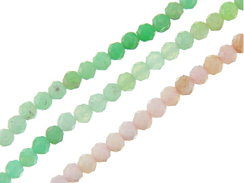 Pink Opal & Chrysoprase Round & Oval Shape Bead Strand Set of 4