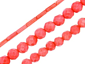 Pink Coral Bead Strand Set of 3 in Assorted Shapes appx 15-16