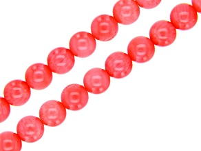 Pink Coral Round appx 6mm Bead Strand Set of 2 appx 15-16