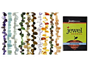 "Mixed Gemstone Fancy Free-Form Shape Bead Strand Set Of 10 Appx 15-16"" and General Beading DVD"