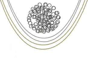 ImpressArt(R) 1.5mm Ball Chain Necklace Set of 4 and 7mm Jump Rings