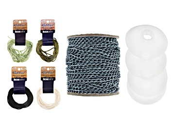 Picture of Anodized Aluminum Unfinished Chain & 4 Jumbo Bobbins & Rattail Lightweight 2mm Satin Cord