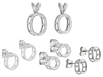 Picture of Tab Set Bezel Casting Kit Includes 3 S/S Earring Castings and 2 S/S Pendant Castings