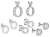 Tab Set Bezel Casting Kit Includes 3 S/S Earring Castings and 2 S/S Pendant Castings