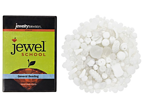 Czech Glass Beads 1/2lb Bag Assortment in White Crystal Shades & Opaques & General Beading DVD