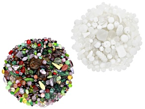 "Czech Glass Beads 1lb Bag in ""Lavender Fields"" and 1/2lb Bag in White Opaques & White Crystal Shades"