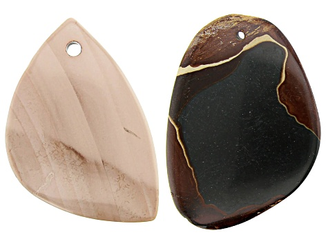 Imperial Jasper appx 22x36mm Free-Form Pendant & Wonderstone appx 27x51mm Free-Form Pendant
