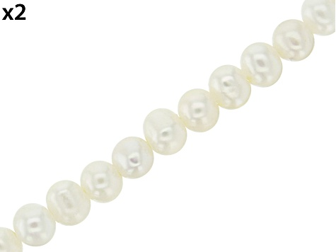 White Cultured Freshwater Pearl Potato appx 6mm Shape Large Hole Bead Strand Set of 2 appx 8