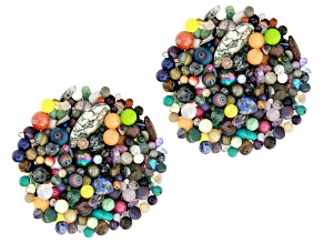 Multi-Gemstone 2lb Loose Bead Parcel in Assorted Shapes and Sizes