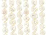 White Cultured Freshwater Pearls Set of 6 Appx 7-8mm Nugget Shape Bead Strands Appx 14-15