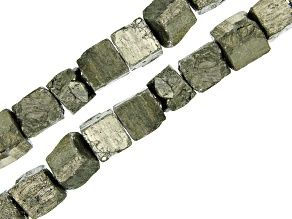 Pyrite Rough Cube appx 11x8-13x11mm Shape Bead Strand Set of 2 appx 15-16""