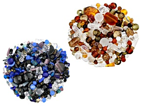 "Czech Glass Beads 2lb Bag Of Assorted Shapes And Sizes in ""Crystal Nightfall"" & ""Amber Crystal"""