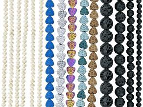 Hematine Heart Shape, Lava Rock Round, White Cultured Freshwater Pearl Roundish Bead Strand Set/15