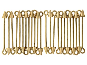 Bead Pendant Finding With Screw Finial In Pointed Cone Gold Tone E-Coat 24pcs