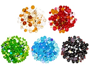 Glass Beads 2 1/2lb Bag in Assorted Shapes and Colors in Black, Blue, Red, Green, and Neutral Mixes