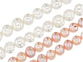 White & Peach Cultured Freshwater Pearl Appx 6-7mm Roundish Bead Strand Set of 4 Appx 14-15
