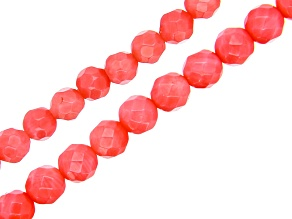 Pink Coral Faceted Round Appx 6mm and Appx 4mm Diamond Cut Bead Strand Set of 2 Appx 15-16