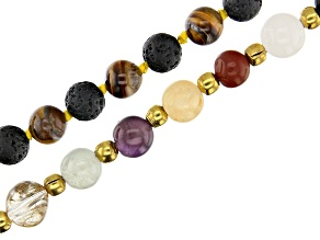 Multi Stone Beggar Bead Strand and Tigers Eye & Lava Rock Endless Round Bead Strand with Tassel