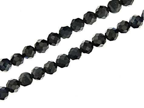 "Blue Sapphire Appx 2.5mm Faceted Round Bead Strand Set of 2 Appx 15-16"" in length"