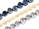 Light Peach, Peacock, and Silver Cultured Freshwater Appx 5-9mm Button Pearl Bead Strand Set of 3