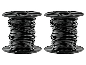 Round Leather Cord Appx 1mm in Black Appx 10 Meter Spool Set of 2