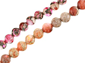 Pink and Orange Mardi Gras Stone Appx 6mm Round Bead Strand Set of 2 Appx 15-16