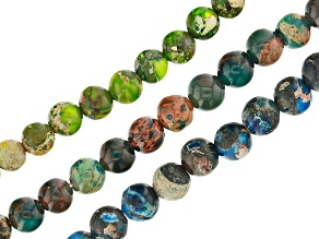 Mardi Gras Stone Appx 4mm Round Bead Strand Set of 3 in Blue, Lime Green, and Teal Appx 15-16