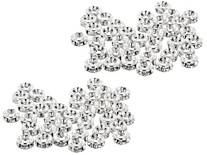 Crystal and Silver Tone Rondelle Appx 4.5mm Parcel Appx 72 Pieces Total