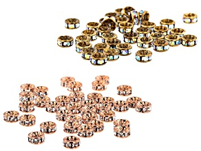 Crystal Rondelle appx 4.5mm Beads in Antique Brass  & Copper Tone appx 72 pieces total