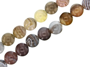 Botswana Agate appx 6 & 8mm Round Bead Strand Set of 2 appx 15-16