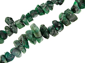 Brazilian Emerald in Matrix Medium & Large Nugget Bead Strand Set of 2 appx 24""