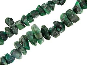 Brazilian Emerald in Matrix Medium & Large Nugget Bead Strand Set of 2 appx 24