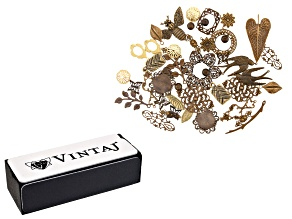 Vintaj Component Assortment in 22 Designs in Natural Brass 46 Pieces Total and Metal Reliefing Block