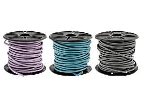 Round Leather Cord in Chandi, Truly Teal, and Metallic Gray Appx 3mm in Diameter Appx 10m in Each