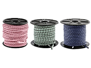 Round Cotton Bolo Cord in Pink, Blue, and Sea Foam and Gray  Appx 10m Each