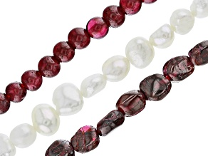 Garnet & White Cultured Freshwater Pearl Bead Strand Set of 3