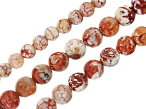 """Fire Terra Agate Round appx 6, 8 & 10mm Bead Strand Set of 3  appx 14-15"""""""
