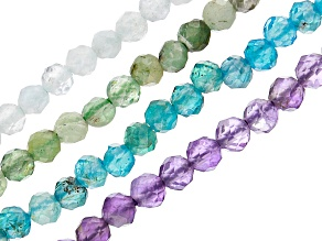 Amethyst, Blue Apatite, Emerald & Aquamarine Faceted Round Bead Strand Set of 4 appx 15-16